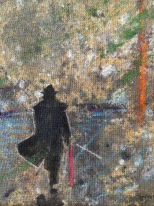 En man i siluett vandrar på en strand, olja på juteväv av Sten-Ove Persson